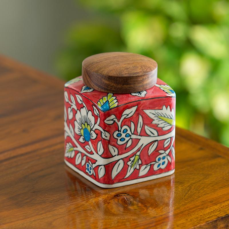 Moorni Mughal Cuboidal Floral Hand-painted Multi Utility Storage Jar & Container In Ceramic (Non-Airtight, 870 ML, 5.3 Inch)