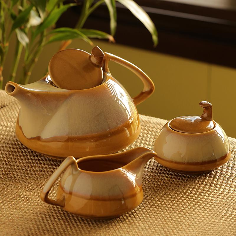 Moorni Tea Pot Kettle Set Dual Glazed Studio Pottery In Ceramic (Set Of 3)
