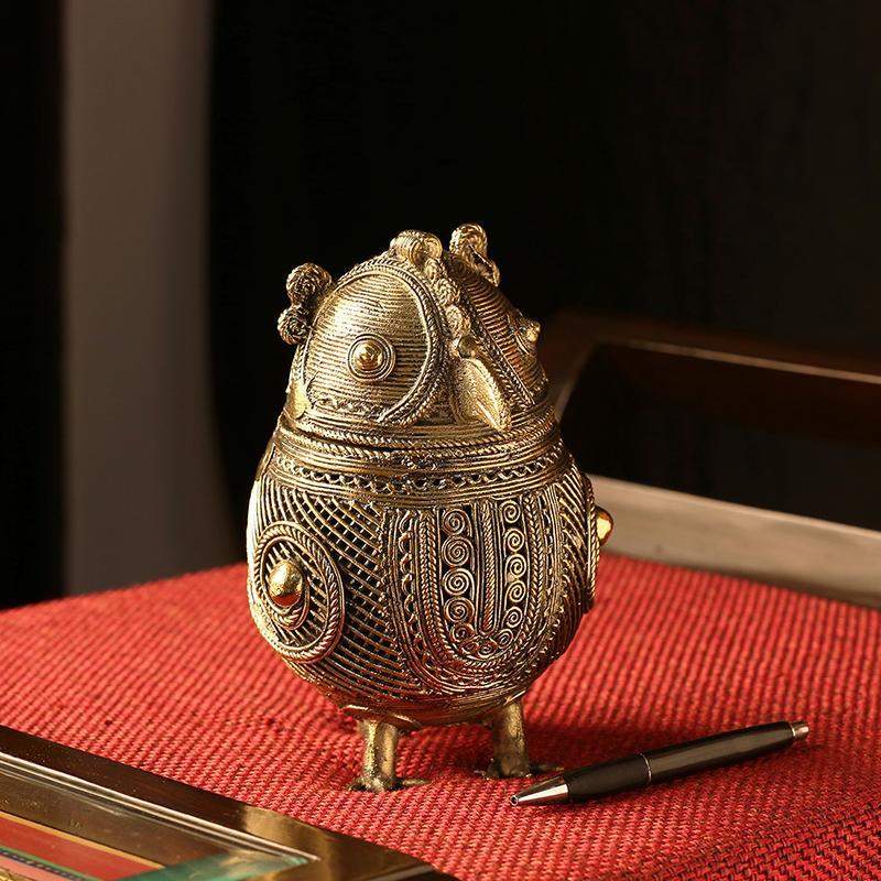 Moorni Royal Owl Chest Brass Multi Utility Jewellery Box Handmade in Dhokra Art