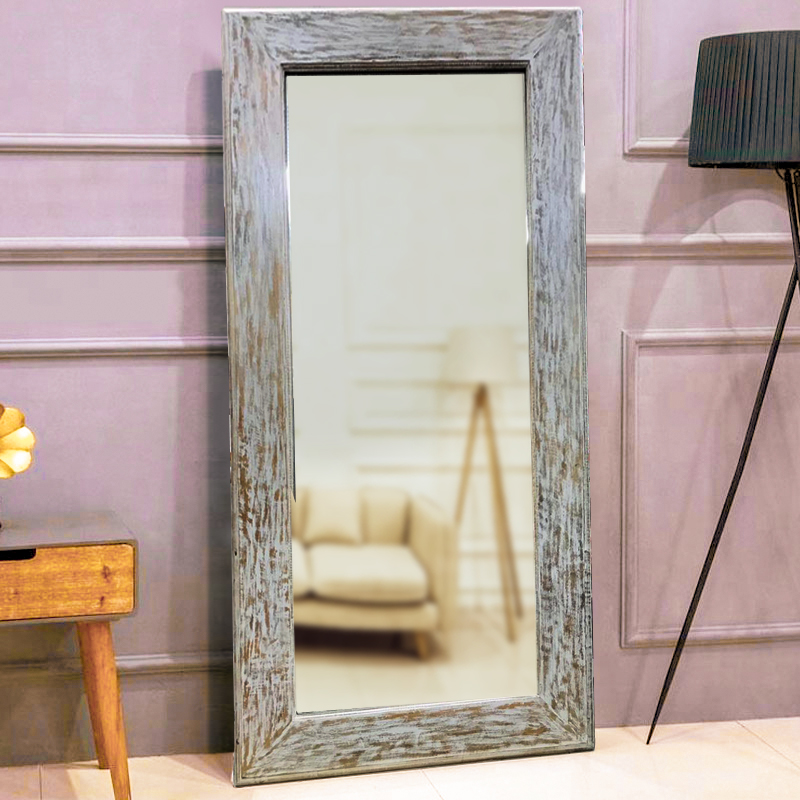 Moorni Seasoned Real Wood Large Wall Mirror Grey