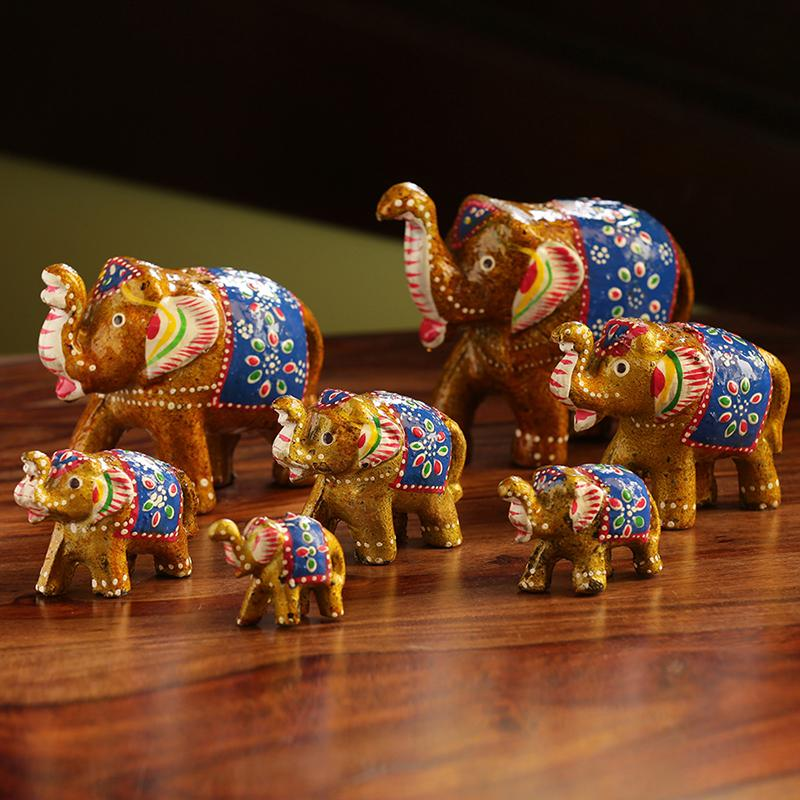 Moorni Seven Tuskers In Brown Hand Carved & Hand Painted Showpiece In Fibre