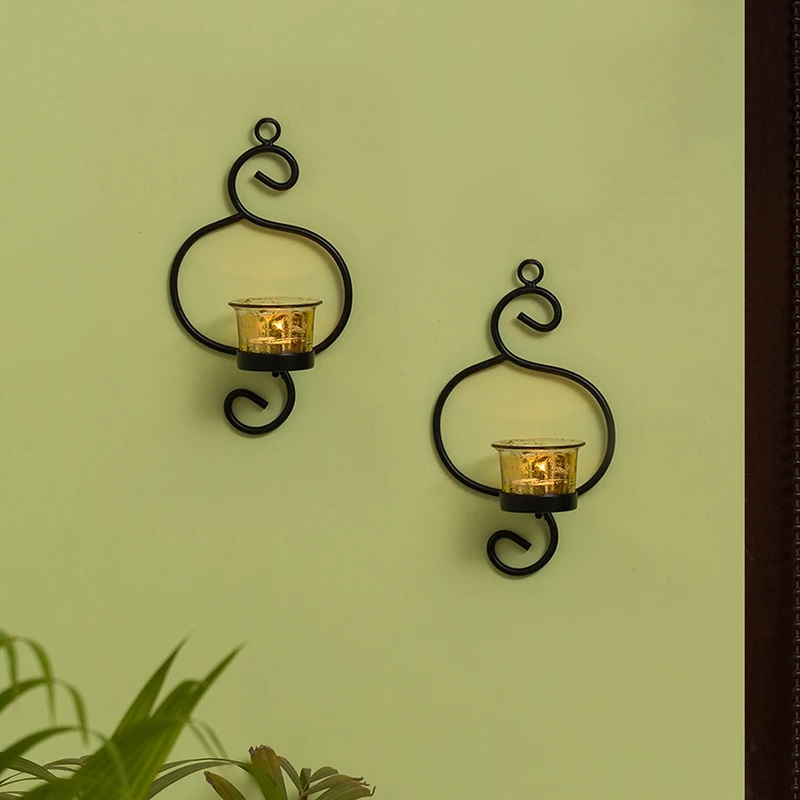 Moorni Gleaming Curved Handcrafted Wall Sconce Tea-Light Holders In Iron (Set of 2)