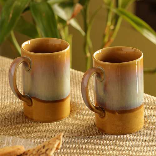 Moorni Foggy Galaxies Tea-Coffee & Milk Mugs Dual-Glazed Studio Pottery In Ceramic (Set Of 2)