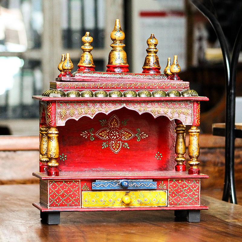 Moorni Handmade Wooden Medium (S) Temple (Multicolor)