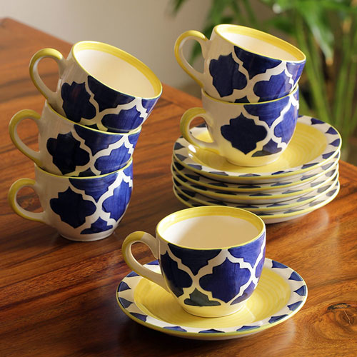Moorni A Mediterranean High-Tea Handpainted Cup & Saucer In Ceramic (Set Of 6)
