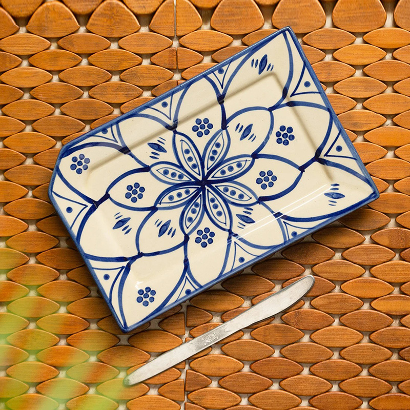Moorni Moroccan Floral Hand-painted Studio Pottery Serving Platter In Ceramic (Microwave Safe)