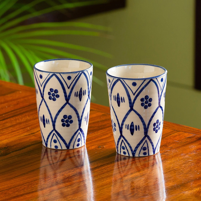 Moorni Moroccan Floral Hand-painted Studio Pottery Milk & Water Glasses In Ceramic (Set of 2, Microwave Safe)