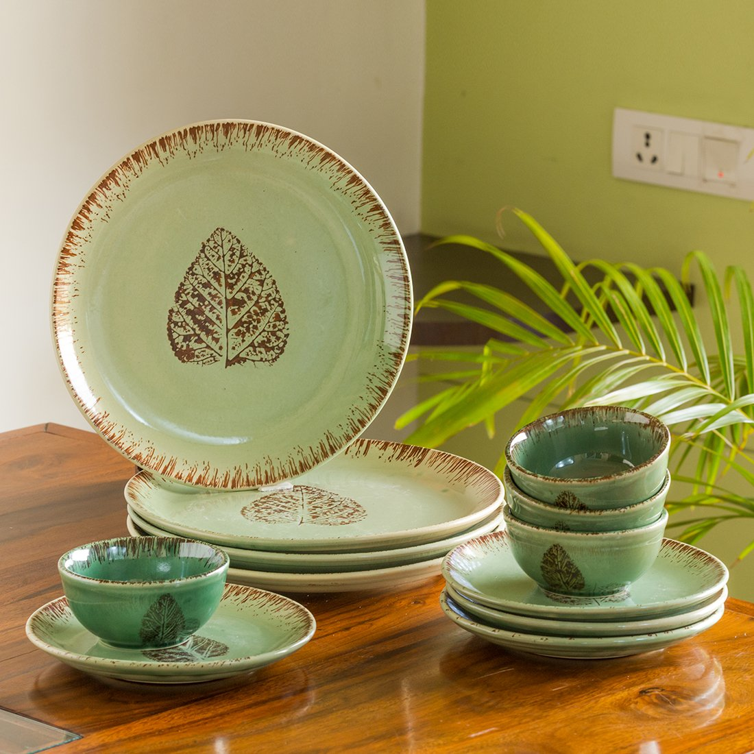Moorni Banyan Leaves Hand-painted Studio Pottery Dinner Plates with Quarter Plates & Katoris In Ceramic (12 Pieces, Serving for 4, Microwave Safe)