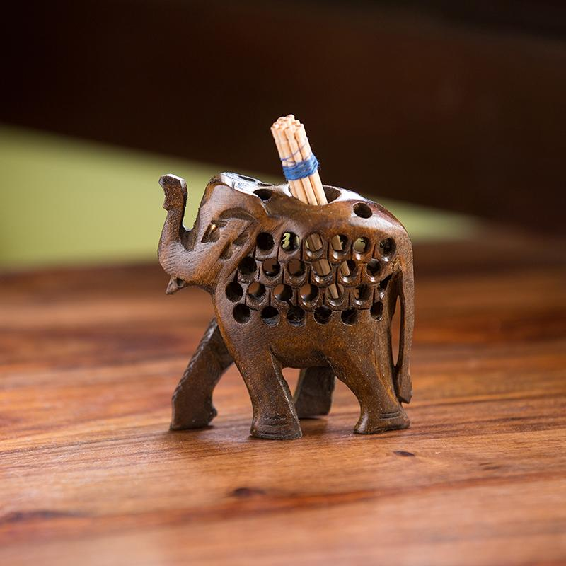 Moorni The Majestic Elephant Hand Carved & Hand Painted Toothpick Holder Cum Showpiece In Cedar Wood