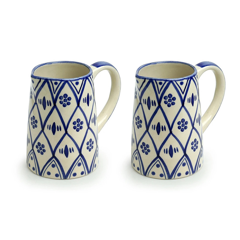Moorni Moroccan Floral Hand-painted Studio Pottery Milk & Water Jugs In Ceramic (Set of 2, 700 ML, Microwave Safe)