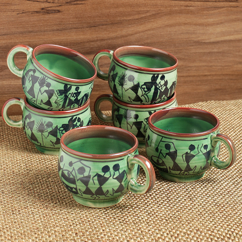 Moorni Get-Togethers In Green Warli Hand-Painted Tea & Coffee Cups In Ceramic (Set Of 6)