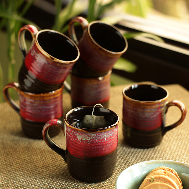 Moorni Crimson Nightfalls Studio Pottery Glazed Tea & Coffee Cups In Ceramic (Set Of 6)