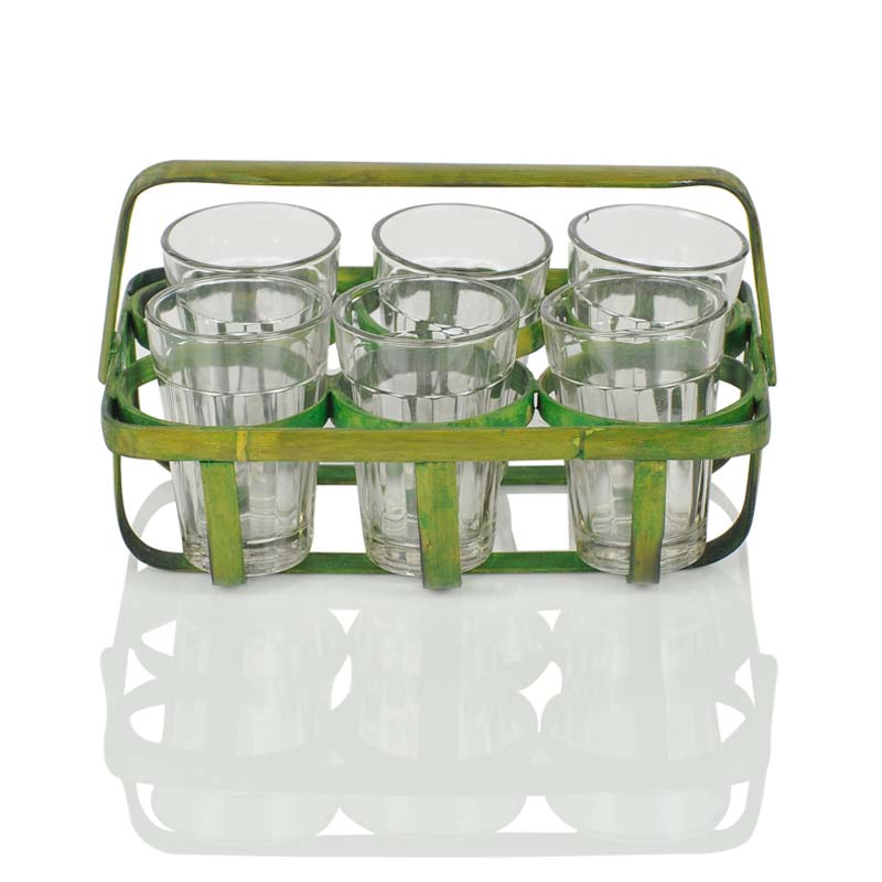 Moorni 6 Tea Glasses with Bamboo Holder in Green