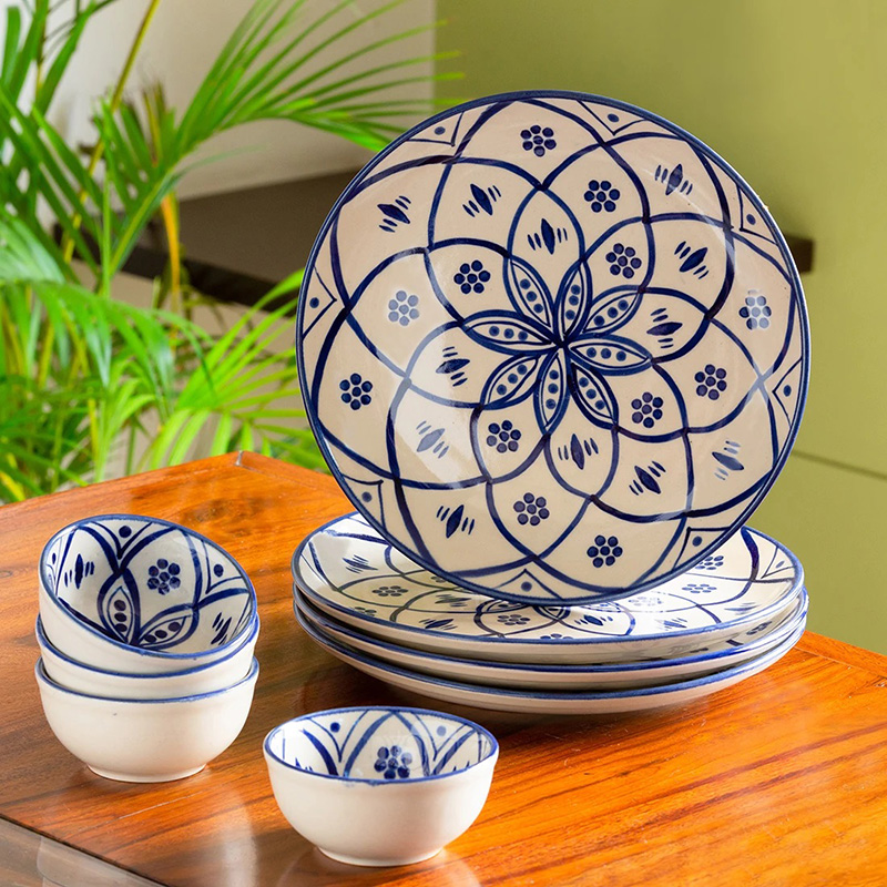 Moorni Moroccan Floral Hand-painted Studio Pottery Dinner Plates With Katoris In Ceramic (8 Pieces, Serving for 4, Microwave Safe)