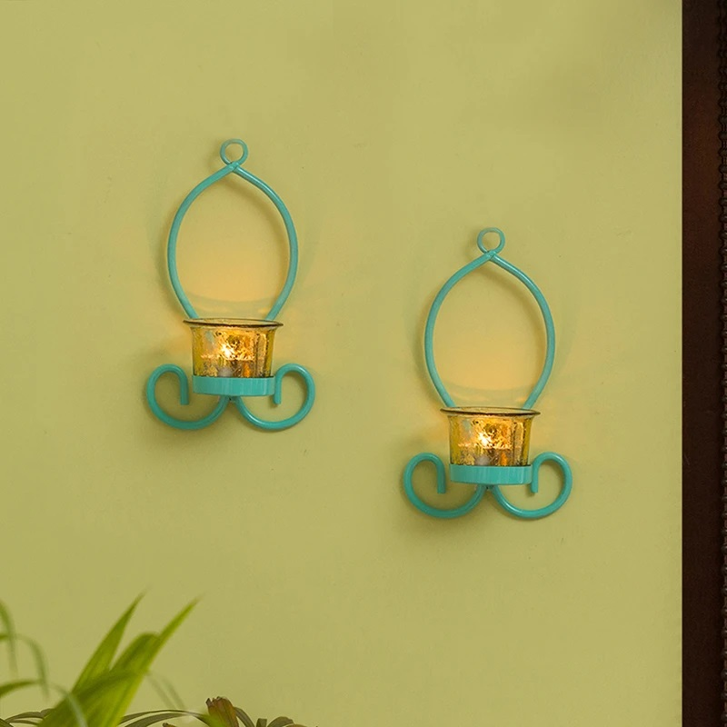 Moorni Glowing Curved Handcrafted Wall Sconce Tea-Light Holders In Iron (Set of 2)