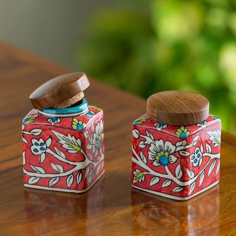 Moorni Mughal Cuboidal Pair Floral Hand-painted Multi Utility Storage Jars & Containers In Ceramic (Airtight, Set of 2, 240 ML, 3.8 Inch)