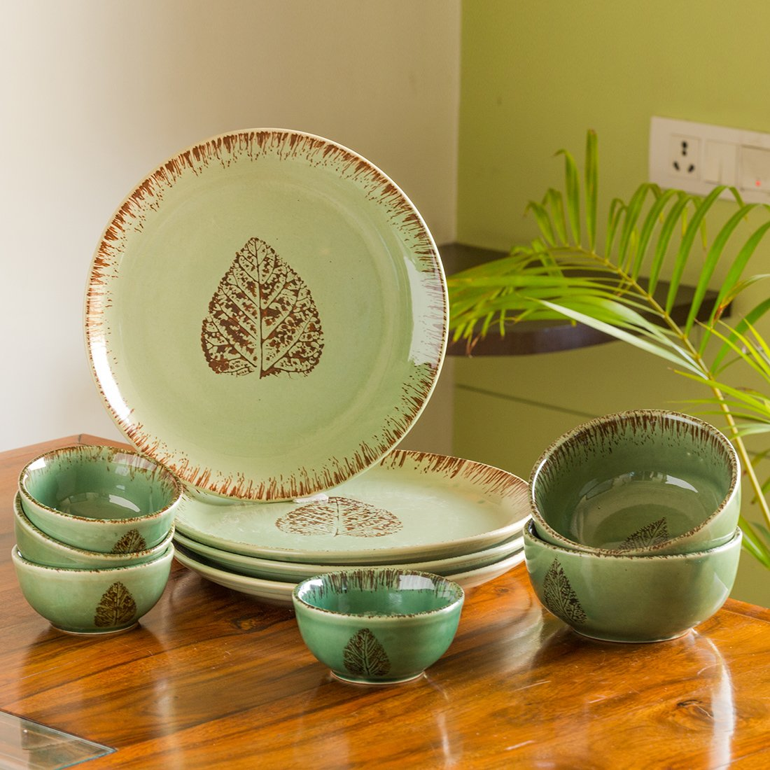 Moorni Banyan Leave Hand-painted Studio Pottery Dinner Plates with Serving Bowls & Katoris In Ceramic (10 Pieces, Serving for 4, Microwave Safe)