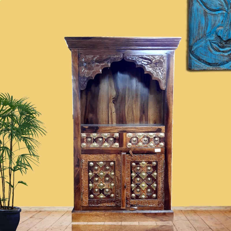Moorni Wooden Home Temple with Drawer and Metal Work MN-008-1006