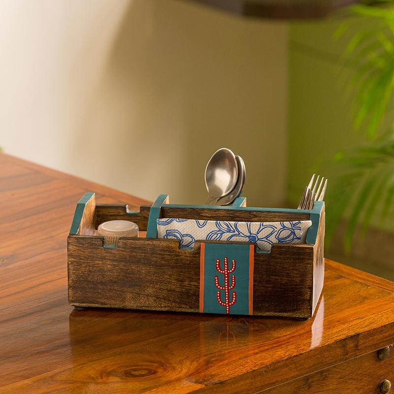 Moorni Oasis Spaces Hand-Painted Cutlery Holder In Mango Wood (4 Partitions)