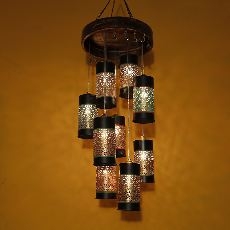 Moorni Cylindrical Chandelier With Metal Hanging Lamp Shades (9 Shades)