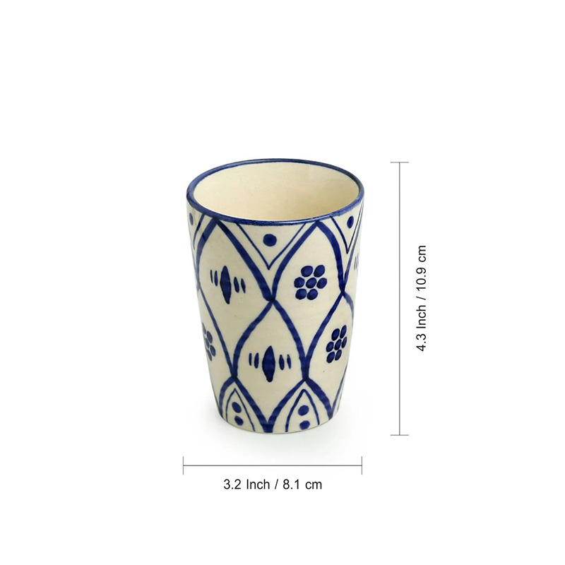 Moorni Moroccan Floral Hand-painted Studio Pottery Bathroom Accessory Set In Ceramic (Set of 3)