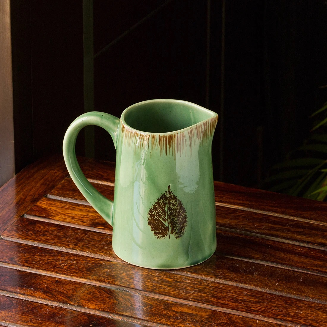 Moorni Banyan Leaves Hand-painted Studio Pottery Milk & Water Jug In Ceramic (Microwave Safe)
