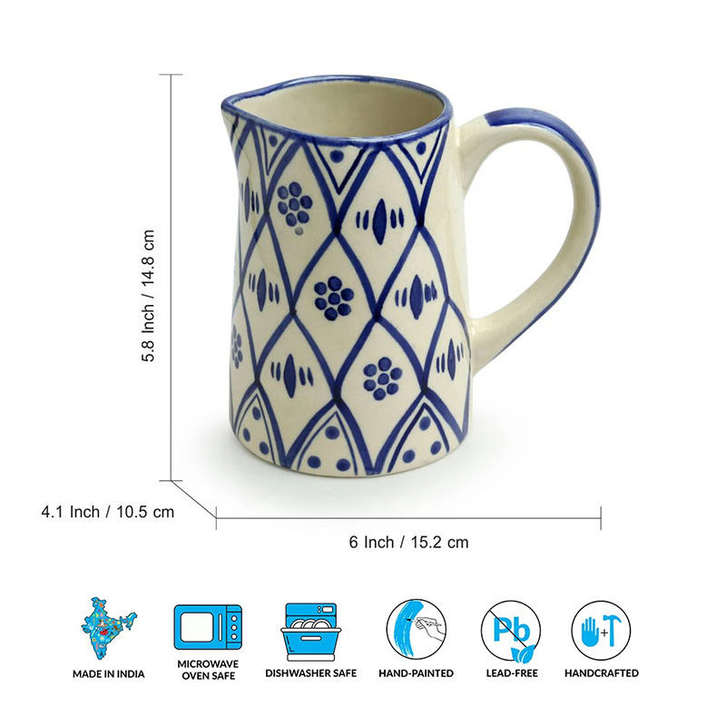Moorni Moroccan Floral Hand-painted Studio Pottery Milk & Water Jug In Ceramic (700 ML, Microwave Safe)