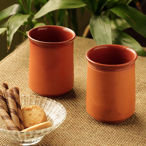 Moorni Water & Tea Glasses Two-gether  Handmade Studio Pottery In Terracotta (Set Of 2)
