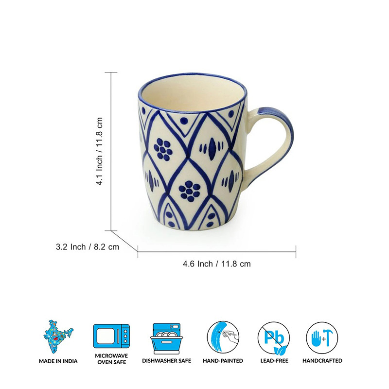 Moorni Moroccan Floral Hand-painted Studio Pottery Tea & Coffee Mugs In Ceramic (Set of 2, Microwave Safe)