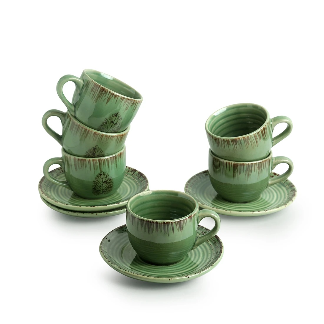 Moorni Banyan Leaves Hand-painted Studio Pottery Tea Cups With Saucers In Ceramic (Set of 6, Microwave Safe)