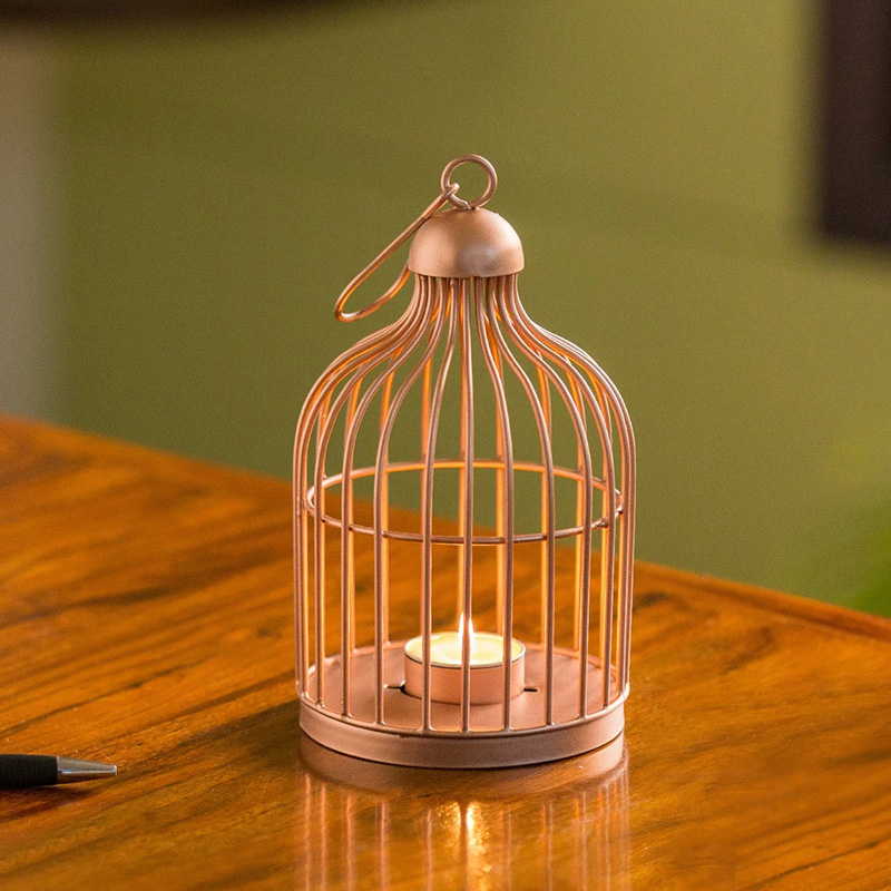 Moorni The Small Wonder Handwired Hanging & Table Tea-Light Holder In Iron (8 Inch, Copper Finish)