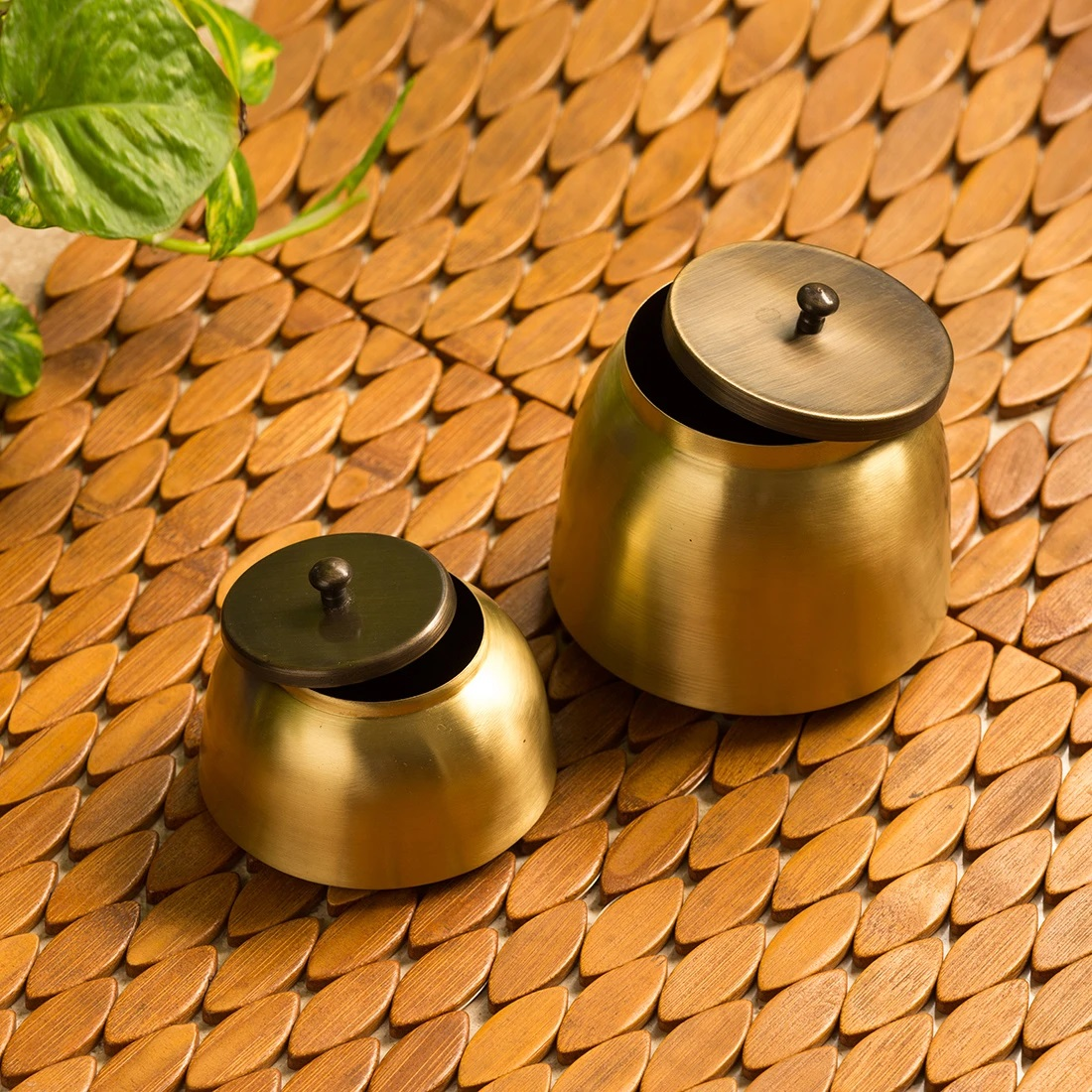 Golden Coupled Handcrafted Pure Brass Multi Utility Storage Jars (Set Of 2)