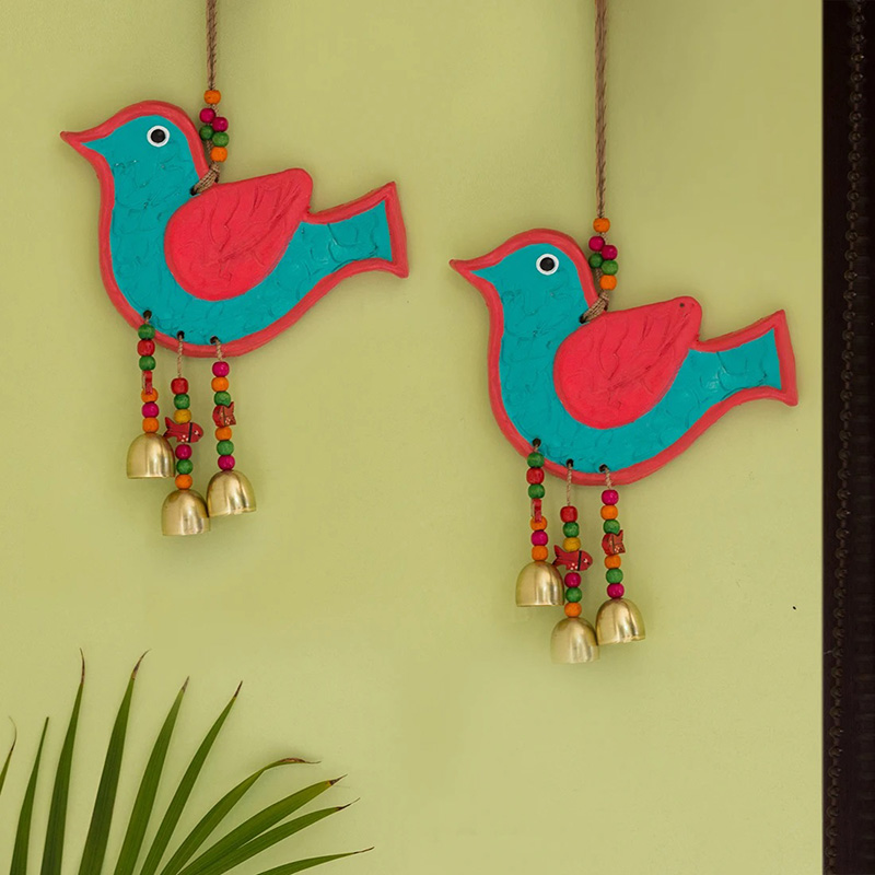 Moorni The Robin Twins Handmade & Hand-painted Decorative Wall Hanging In Terracotta (Set of 2)