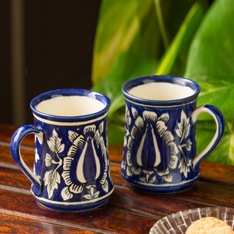 Moorni The Floral Buddies Mughal Hand-Painted Ink Blue Ceramic Tea & Coffee Mugs (Set Of 2)