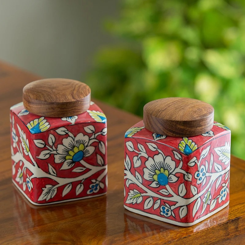 Moorni Mughal Cuboidal Duo Floral Hand-painted Multi Utility Storage Jars & Containers In Ceramic (Non-Airtight, Set of 2, 870 ML, 5.3 Inch)