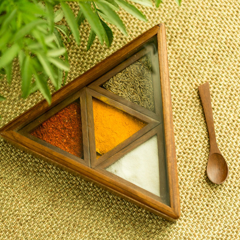 Moorni Sheesham Wood Pyramid Spice Box With Spoon (4 Containers) EL-005-296