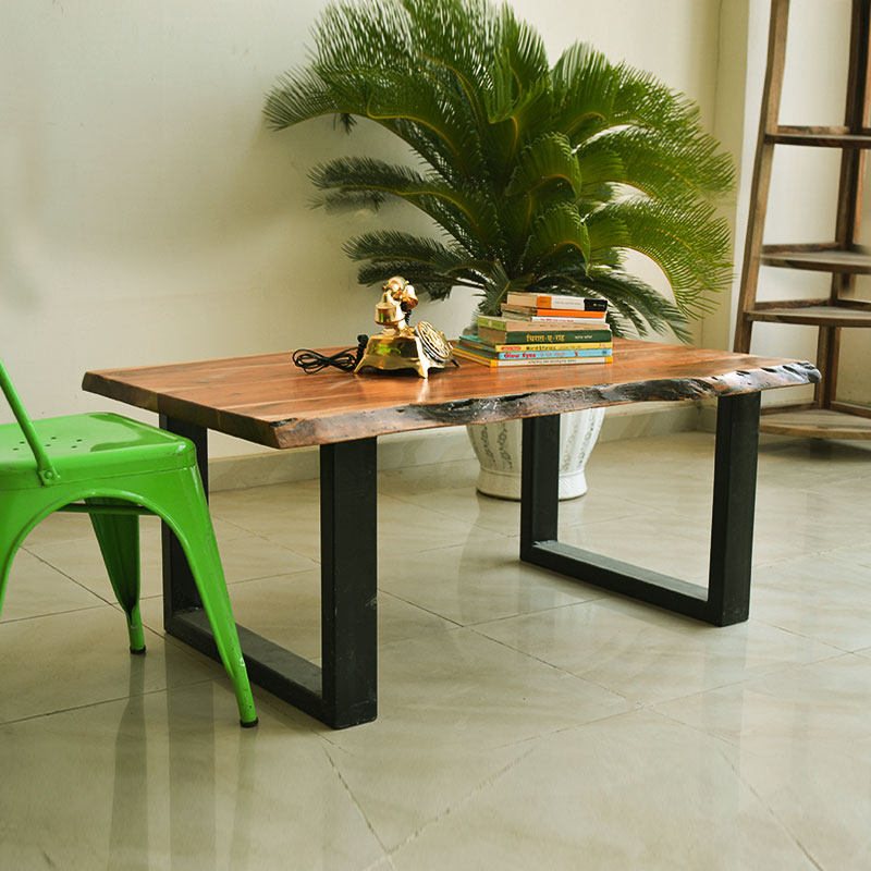 Moorni Real Wood Easy Go Table with Metal Legs