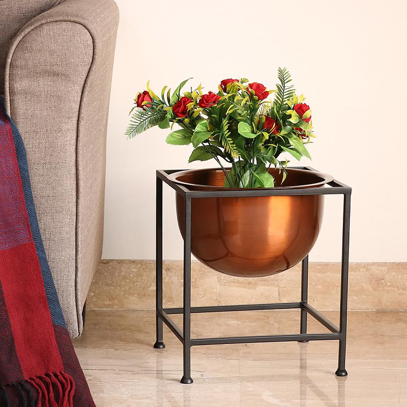 Moorni Copperish Gloss Floor Planter Pot With Cuboidal Stand In Iron (12.5 Inch)