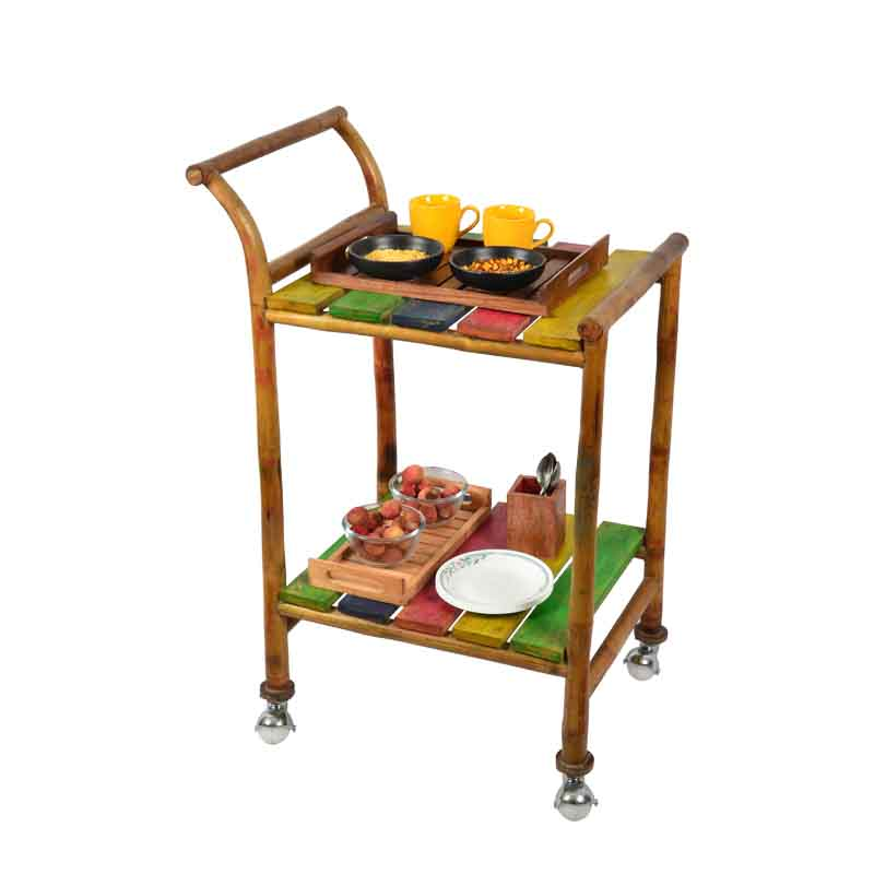 Moorni Multicoloured Bamboo Food Trolley