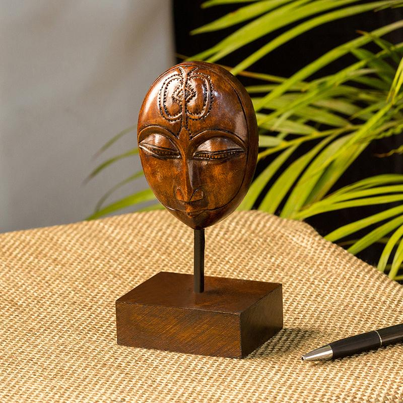 Moorni Meditating Face Hand Carved Wooden Sculpture Showpiece (6.7 Inch)