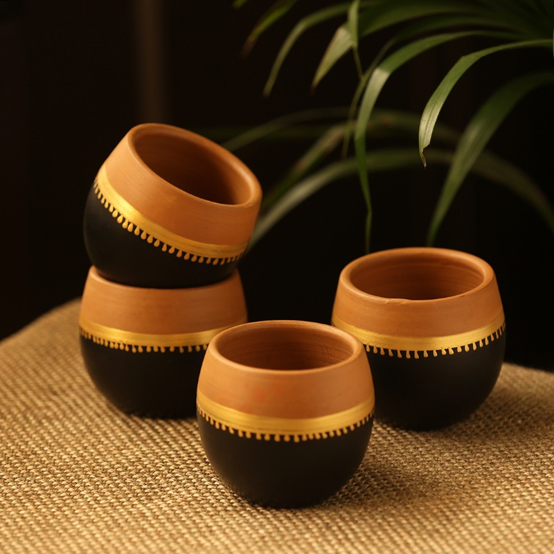 Moorni Terra-Sips Hand-Painted Kullads In Earthen Terracotta (Set Of 4)