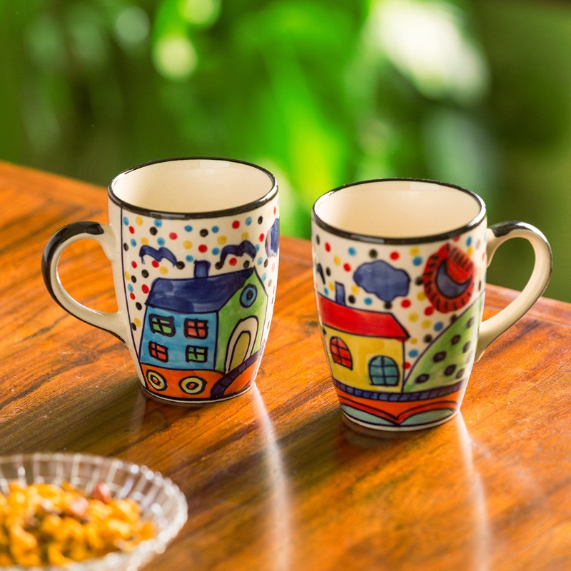 Moorni The Hut Jumbo Cuppas Hand-Painted Mugs In Ceramic (Set Of 2)