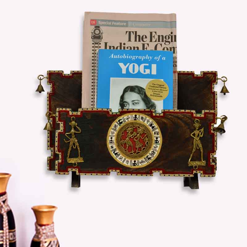 Moorni Dhokra and Warli Wall Hanging Cum Wooden Magazine Cum Newspaper Stand - Brown