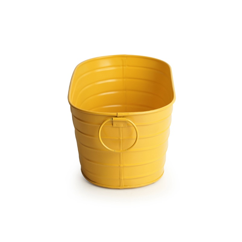 Moorni Glossy Yellow Hand-Painted Floor Cum Table Planters Pot In Metal (Set Of 2)