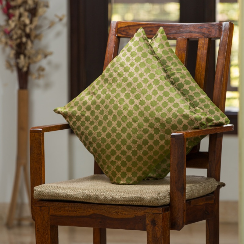 Moorni Mughal Pattern Hand Blocked Cushion Cover In Silk (Set Of 2)
