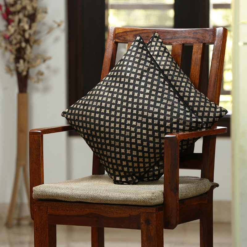Moorni Star Pattern Hand Blocked Cushion Cover In Silk (Set Of 2)