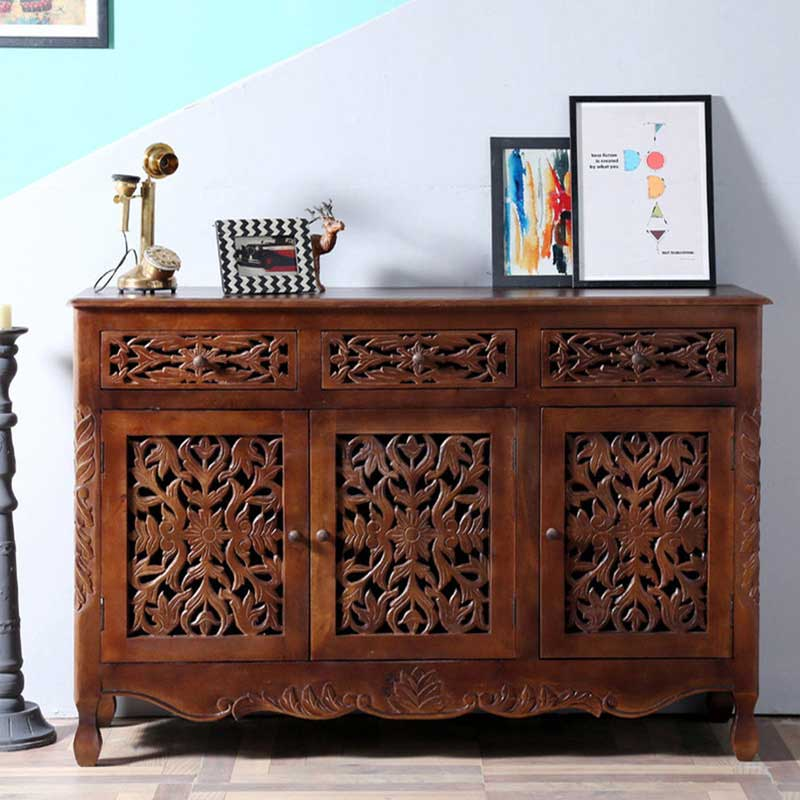 Navi Art Wood Covered Sideboard in Honey Oak Finish - SBA086