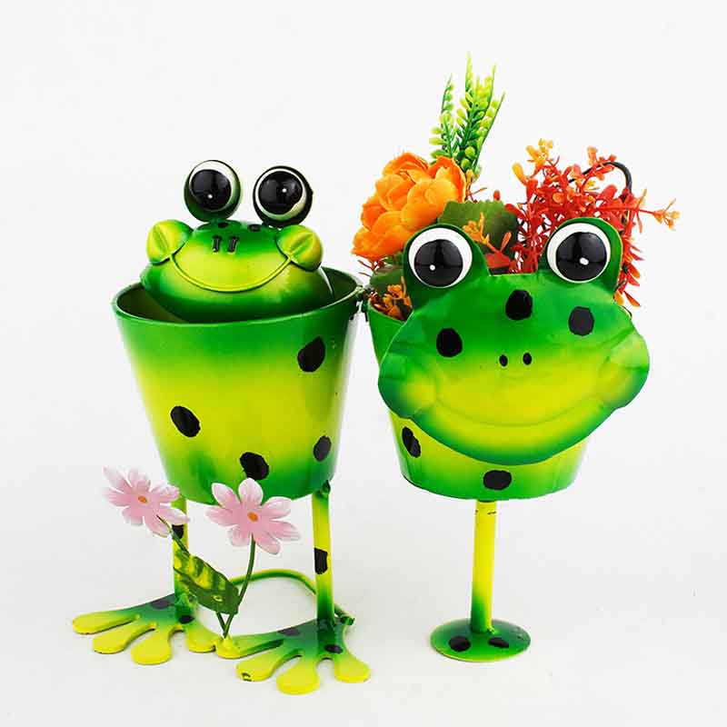 Green Double Frog Planter Pots